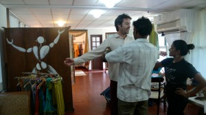 Getting measured at Rangoli